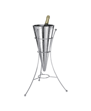 Conical Wine Cooler & Tripod Stand Double Walled Hammer Finish CASE QTY 1