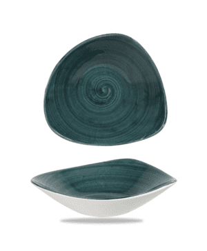 "Churchill Stonecast  Patina Rustic Teal Triangle Bowl - 23.5cm 9¼"" - Case Qty 12"